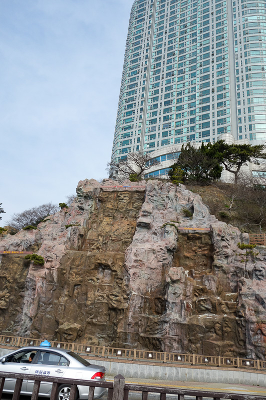 Korea-Busan-Beach-Songdo - Magic mountain! I found it! Adelaide sold off magic mountain and it has been moved here to be a fake waterfall. Adelaide replaced its magic mountain w
