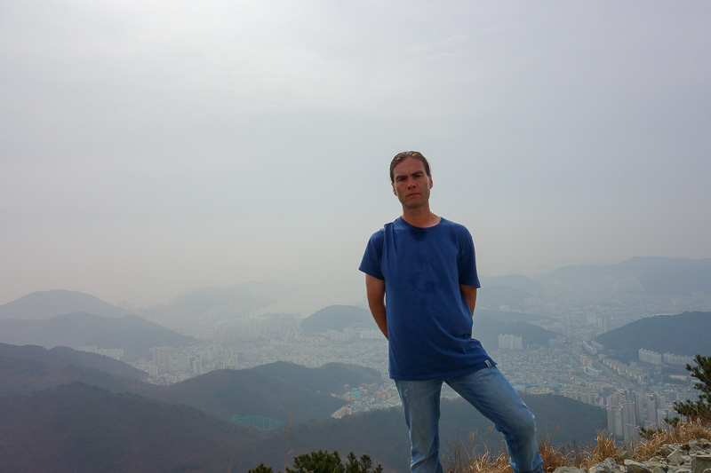 Korea-Busan-Hiking-Gudeoksan - Its me, sweating in unusual areass. I think because I was wearing my jacket for some of the way, but had it unzipped, showing off my manly chest hair