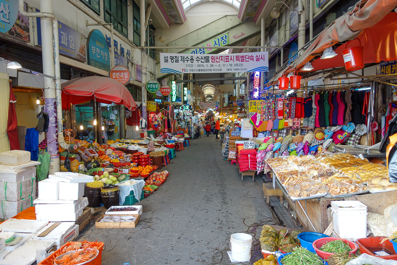 Korea-Busan-Gwangju-Bus - The other side of the unused station is another market, just as huge, just as busy. I saw an argument between 2 men pushing trolleys full of strawberr