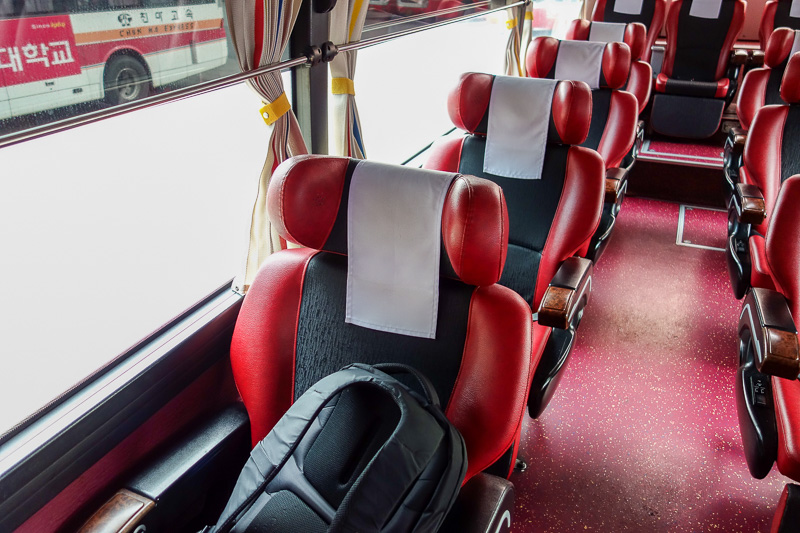 Korea-Busan-Gwangju-Bus - Spacious, clean, quiet, comfortable and most importantly, cheap. I bought snacks for the journey, but ate them all before the bus pulled out of the st