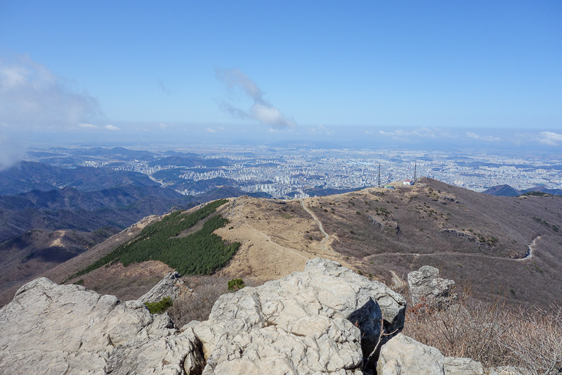 Korea-Gwangju-Hiking-Mudeungsan - Gwangju, and the previously mentioned cell phone towers.
