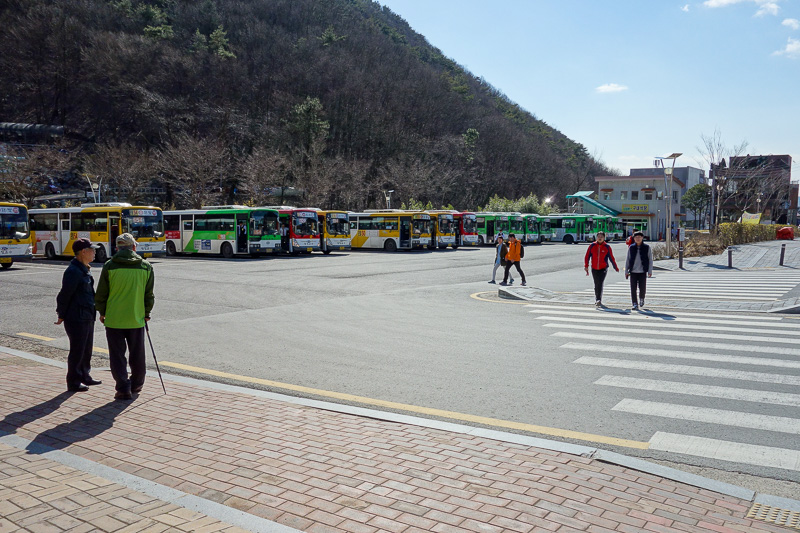 Korea-Gwangju-Hiking-Mudeungsan - You dont have to wait long for a bus. These are all regular public buses to take you back to town for about $1.