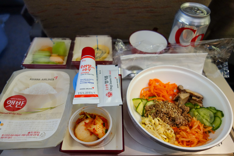 Sydney-Incheon-Boeing 777 - The excellent bibimbap with above mentioned pepper sauce toothpaste tube. It was spicier than the packet ones they seem to carry in the Korean grocer