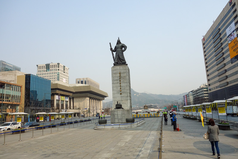 Korea-Seoul-Seodaemun Prison-Nakwon Arcade - This is a statue of Admiral Yi Sun-sin, often referred to as the greatest navy commander of all time. He bravely fought the Japanese on numerous occas
