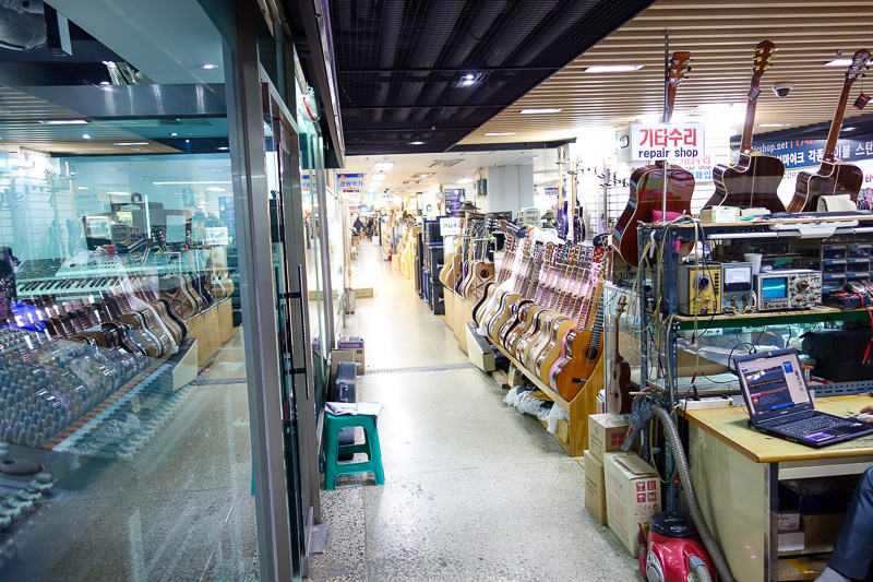 Korea-Seoul-Seodaemun Prison-Nakwon Arcade - Now its time for Korea to get revenge. Many years ago, the majority of guitars were made in Japan. Now its Korea. This is the Nakwon music arcade and