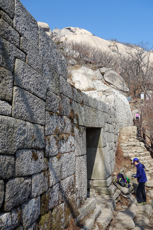 Korea-Seoul-Hiking-Bukhansan-Baegundae - Parts of this mountain also have ancient wall, as was the trend in years gone by.