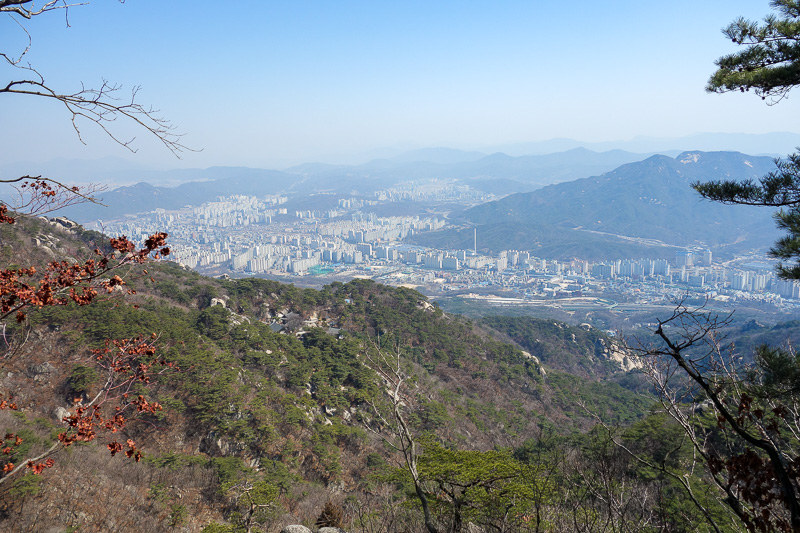Korea-Seoul-Hiking-Bukhansan-Dobongsan - More view. It was here that I was advised to go around and not take the notorious Y path, its called the Y path because thats the path you take, down,