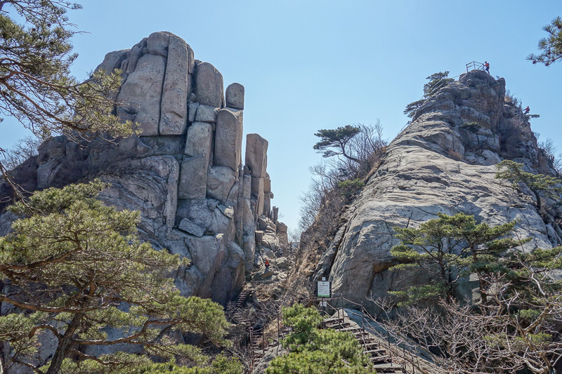 Korea-Seoul-Hiking-Bukhansan-Dobongsan - Now I was stopped, and not allowed past at all. There are ways to go to the very top of both of those, and you can see the abseiler on the top of the