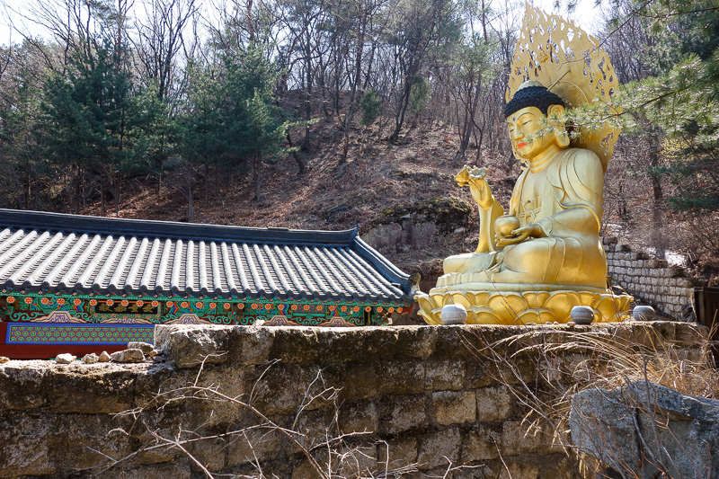 Korea-Seoul-Hiking-Bukhansan-Dobongsan - Some temples had large golden buddhas. I always struggle to spell buddha / buddah.