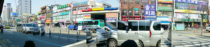Korea-Hiking-Incheon - Heres another panorama, this time of a random street in Bucheon. Korean cars come in multiple pieces.