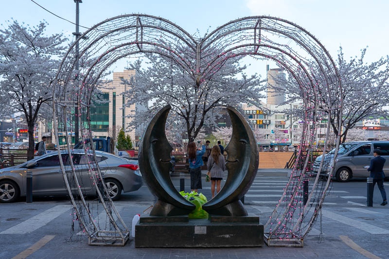 Korea-Daejeon-Pancakes - Its a love heart, some sort of satanic moon symbol, and cherry blossoms. Oh and someone has put a bag of rubbish on it and two girls are taking selfie