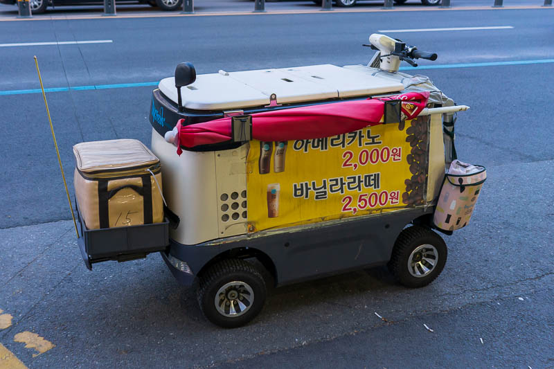 Korea-Daejeon-Pancakes - I saw these all over Seoul and now I am seeing one here also. At first I thought it was for the mail delivery, it is motorized. But in Seoul I saw one