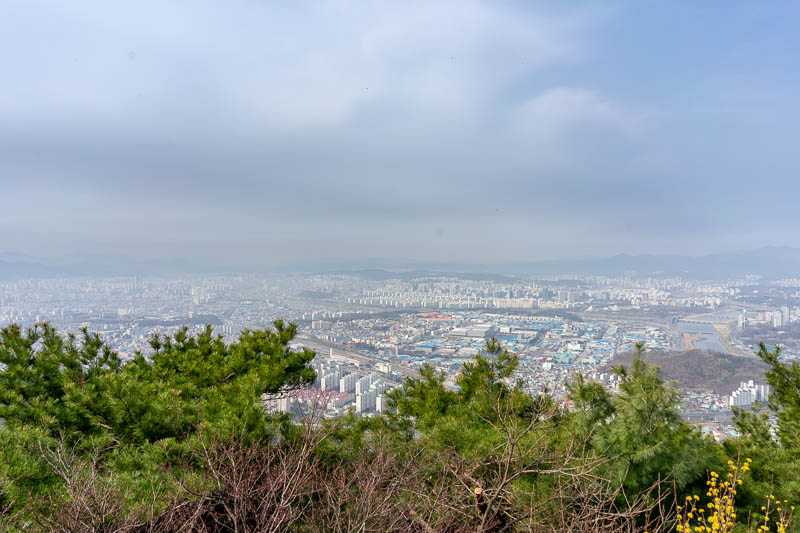 Korea-Daejeon-Hiking-Gyejoksan - The view from the top was ok, trees in the way, too much smog, but many white identical apartment blocks below.