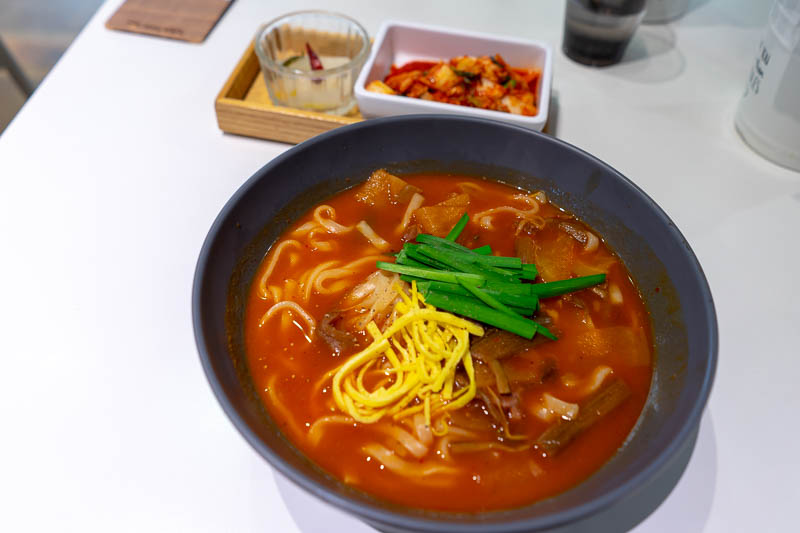 Korea-Seoul-Shopping - I chose a noodle specialist place for dinner, they were making their own noodles. I chose spicy beef, and it was great! The game was find the beef, bu