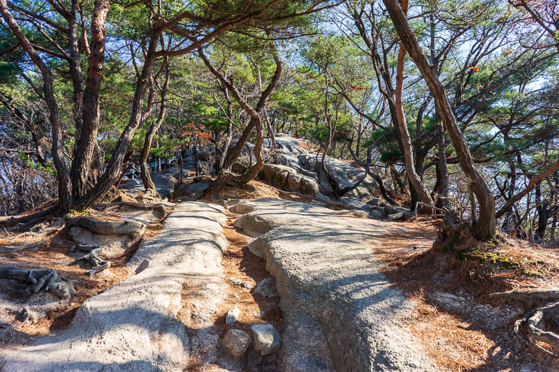 Korea-Hiking-Suraksan - Today featured every kind of mountain trail. I enjoyed the variety. Here is a scramble up some steep rocks section, one of my favorites.