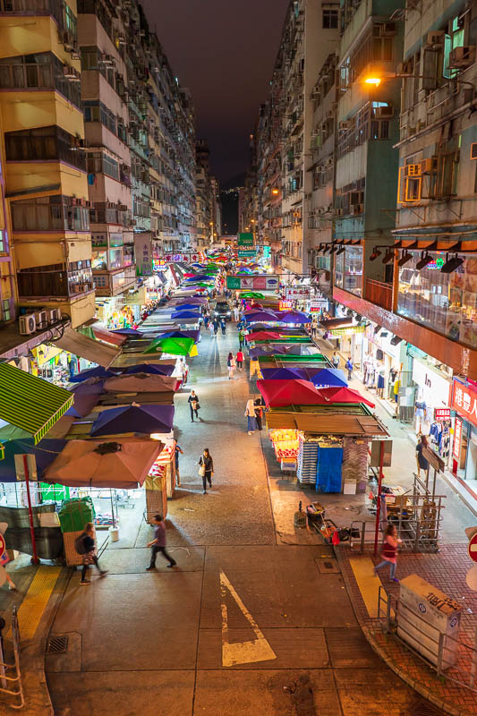 Hong Kong-Mong Kok - Now for 3 similar shots from an overpass. Here is shot number one, which involves a market. I have seen lots of photos from this spot taken by other p