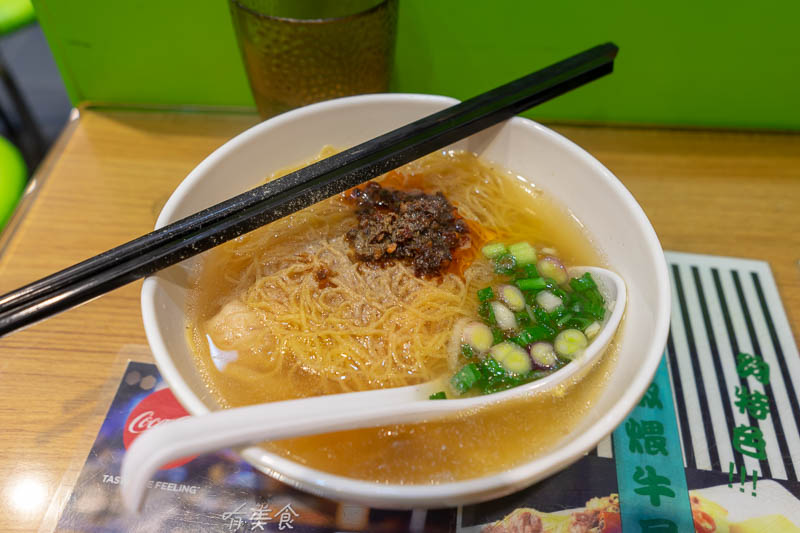 Hong Kong-Mong Kok - I was turned away from 2 places due to being along, so I headed to a nanna place and had the Hong Kong specialty of won ton noodle soup. The picture l