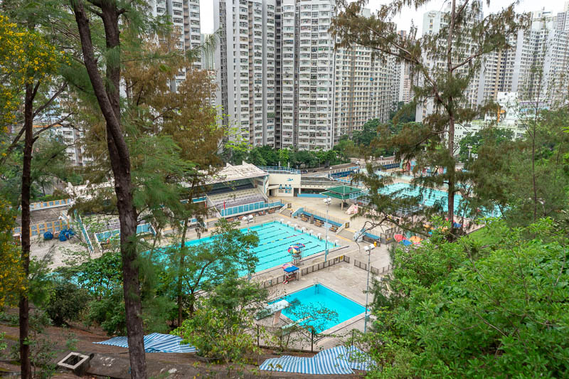 Hong Kong-Hiking-Lion Rock - My route took me up a freeway past a swimming pool.