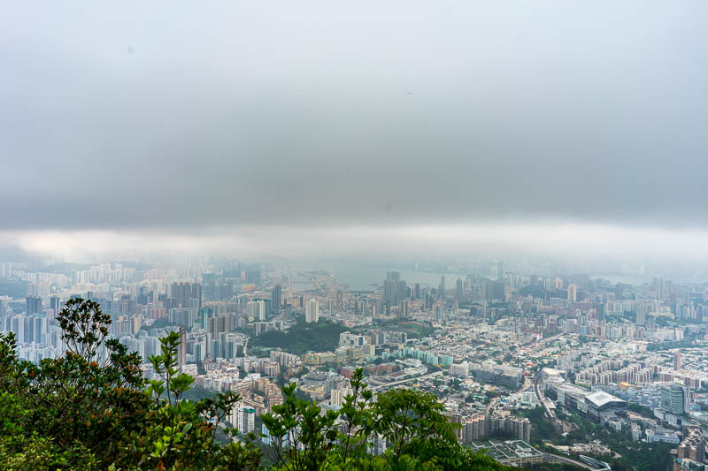 Hong Kong-Hiking-Lion Rock - Near the centre of the picture you can see the old Kai Tak airport runway. I am standing almost on the famous checkerboard, where huge jets used to pe