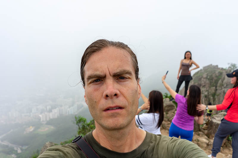 Hong Kong-Hiking-Lion Rock - I stayed a long way from the edge, meanwhile behind me they were leaping into the air on rocks near the edge.
