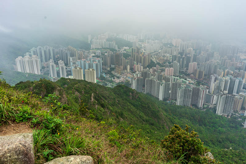 Hong Kong-Hiking-Lion Rock - That there is my path down, along the ridge. Still no rain, no idea how this has occurred but I was very glad I went for a waterless hike.