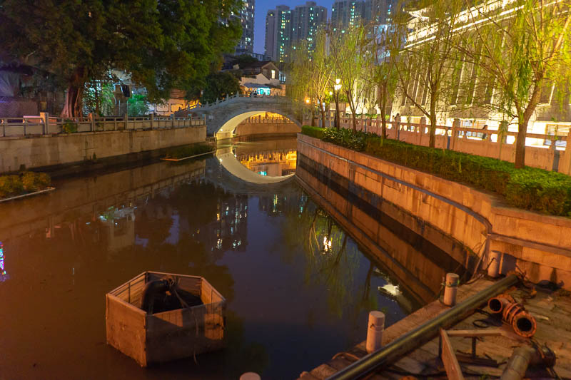 China-Guangzhou-Shangxiajiu - The surrounding area has a number of storm water drains with bridges designed to survive a flood.