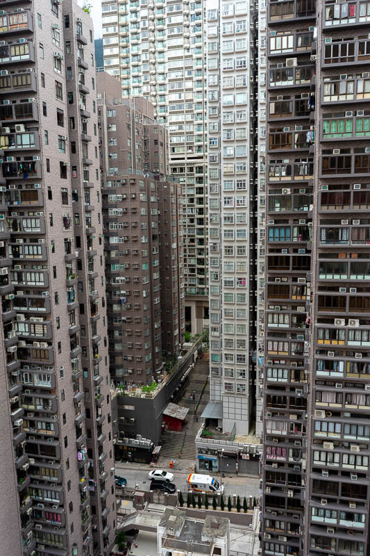 China-Guangzhou-Hong Kong-Train - Here is the view from my hotel window. I am already very familiar with my 10,000 neighbours. One of them yelled SHUT YOUR CURTAINS! As I stood nude wa