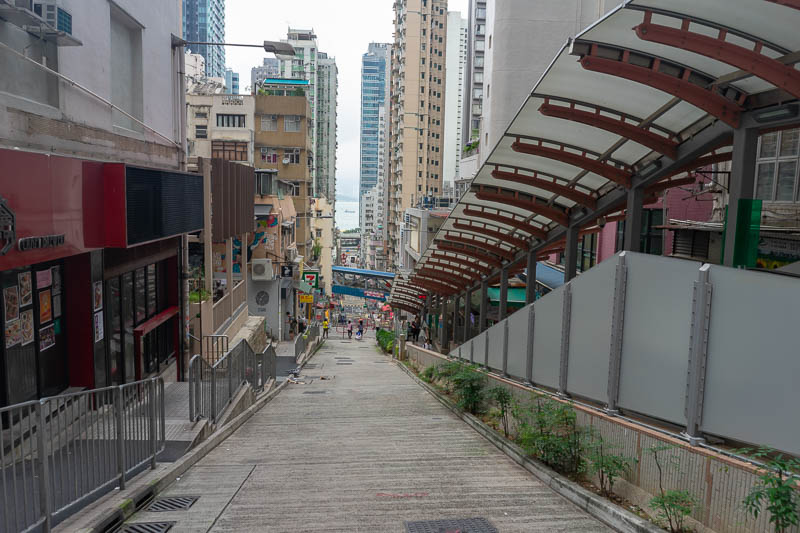 Hong Kong-Hiking-Aberdeen - Getting to the base of the hills requires you to walk up a steep hill called the city of Hong Kong. I refuse to use the outdoor escalators which are o