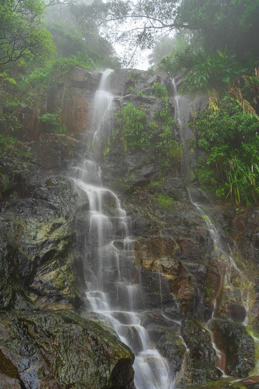 Hong Kong-Hiking-Aberdeen - A waterfall in the fog. Time to go to f22 and see how slow I can set my shutter speed for some smooth looking water. Not quite slow enough.