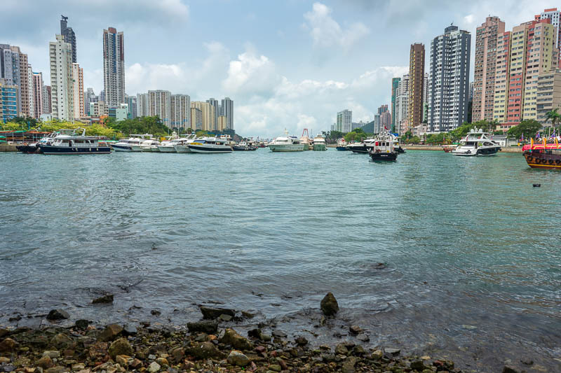 Hong Kong-Hiking-Aberdeen - I climbed down to the shoreline after going as far as I could go. This is the very far side of Hong Kong island, but still giant apartments as far as
