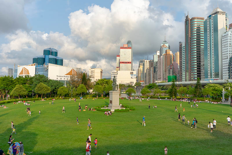 Hong Kong-Central-Architecture - Here is the Sun Yat-sen memorial park. Not a mausoleum. You might notice that it is filled with largely non Asian families. The Asians are inside the