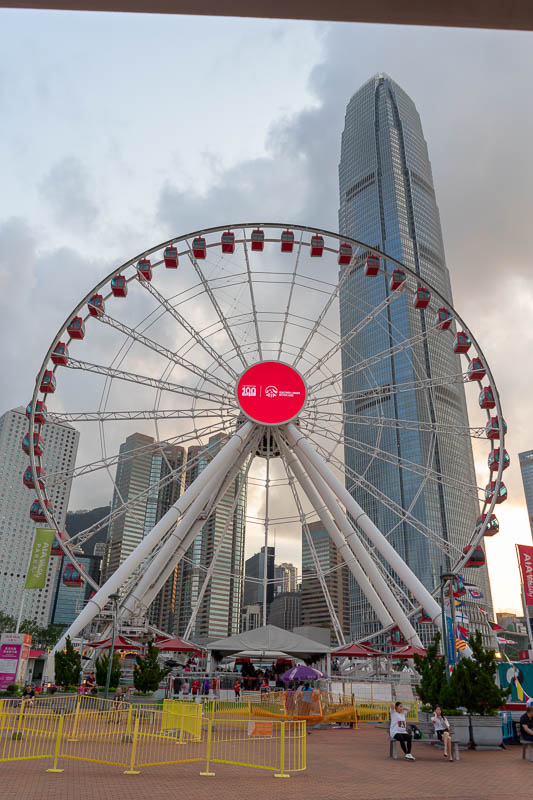 Hong Kong-Central-Architecture - Have another photo of the ferris wheel.... and a big building. I photographed that building each time I came to Hong Kong.