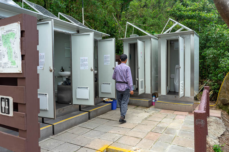 Hong Kong-Hiking-Dragons back - Here are the above mentioned public toilets, with full time cleaner cheerily greeting everyone who wants to use his toilets. He was very proud, he lit