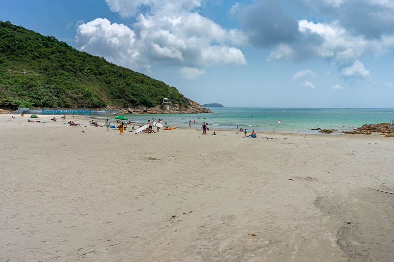 Hong Kong-Hiking-Dragons back - Here is the beach. It has life guards, shark nets, and almost no Asian people at all, everyone was British.
