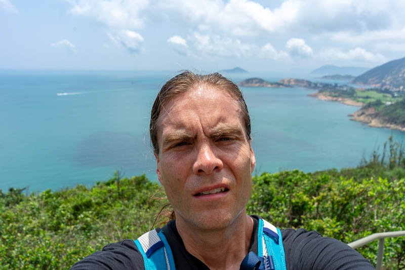 Hong Kong-Hiking-Dragons back - Its my big ugly sweaty head. Terrible hair day. This is probably the 2nd to last big ugly head shot. Rejoice.