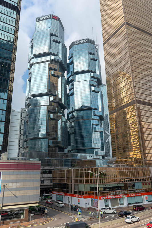 Hong Kong-Airport - The Lippo centre buildings do not look real.
