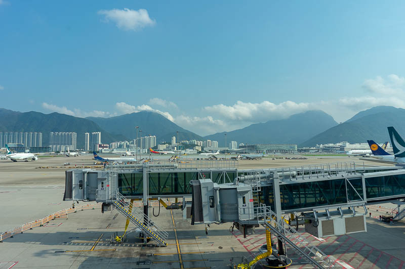 Hong Kong-Airport - Last pic of this trip! The peak on the left is the one I climbed up and over yesterday. When I come back next time, I will do the one on the right.