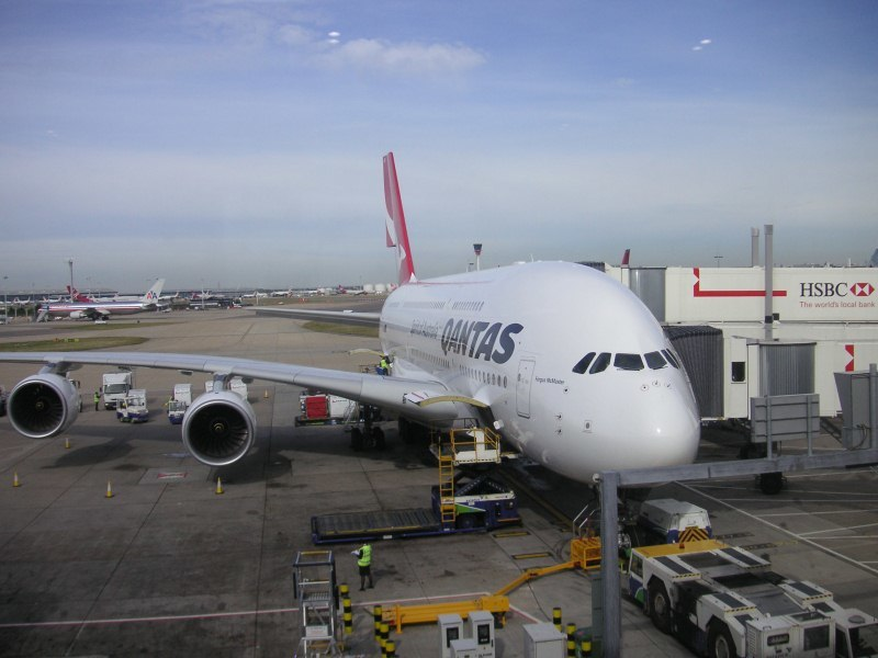 England-London-Heathrow-Qantas-Airbus A380 - Heathrow