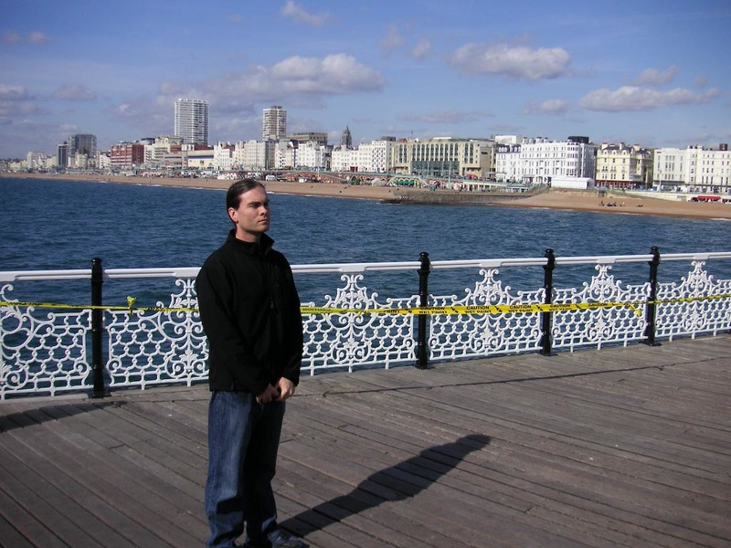 England-Brighton-Jetty-Beach - Here I am on the pier, yellow caution tape has been erected to signal my arrival.