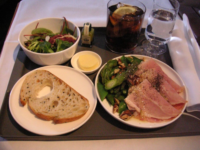 London-Heathrow-Hong Kong-Qantas - Entree, an asparagus salad with parma ham, the ham was pretty nice, I was trying to choose the healthy options.
