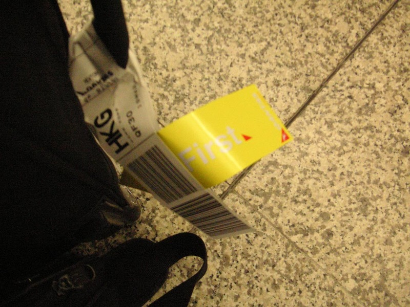 Hong Kong-Airport-Causeway Bay-Mall - Thats my first class luggage tag, I may never see one again.