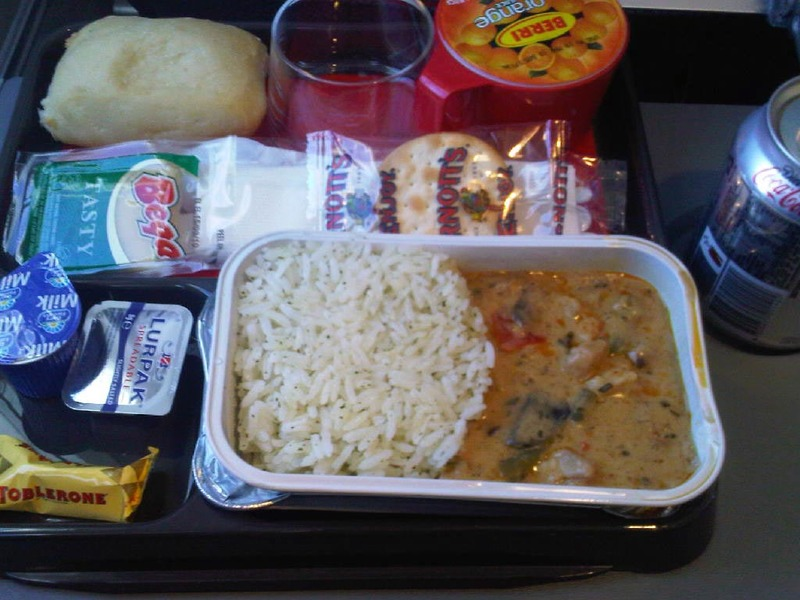 Adelaide-Perth-Airport-Qantas - This is the lunch meal on the domestic flight, red curry, its actually really nice, probably the best meal I had on the whole journey (blackberry pict