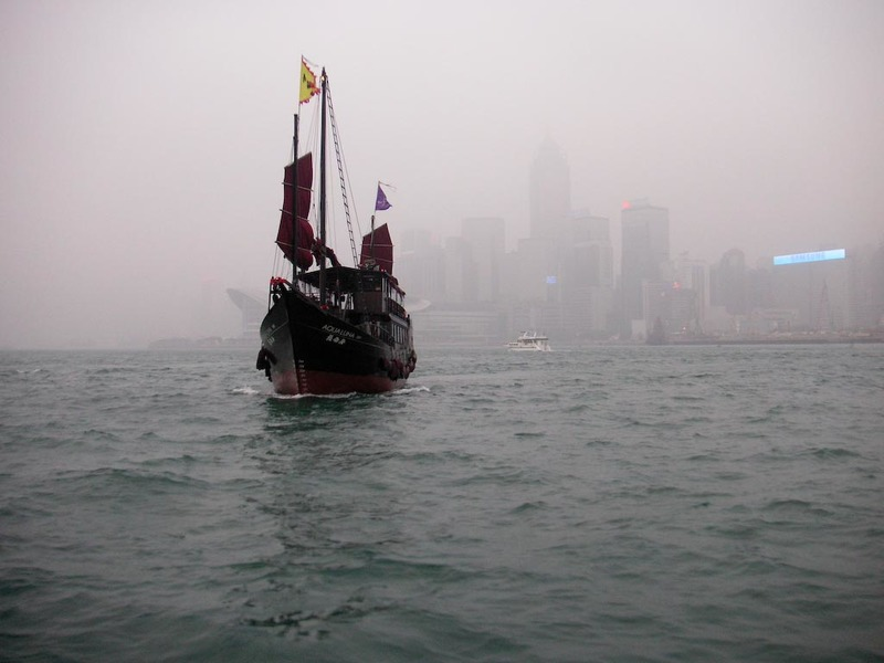 Hong Kong-Star Ferry-Smog-Tsim Sha Tsui - A junk heading straight for us.