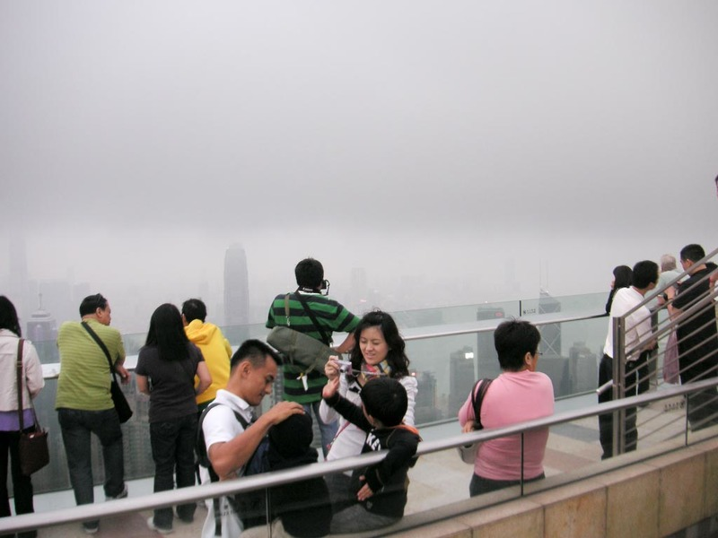 Hong Kong-The Peak-View - People on the skydeck.