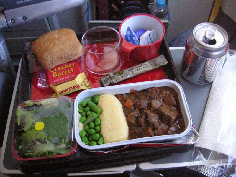 Perth-Singapore-Qantas-Airport - Meal was a beef stew thing, as you can see the basic format of the meal is the same as qantas domestic flights. Ice creams were offered later on (this