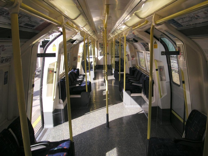 England-London-Mall-White City - Heres the inside of a tube train, they are quite small, but come every couple of minutes.