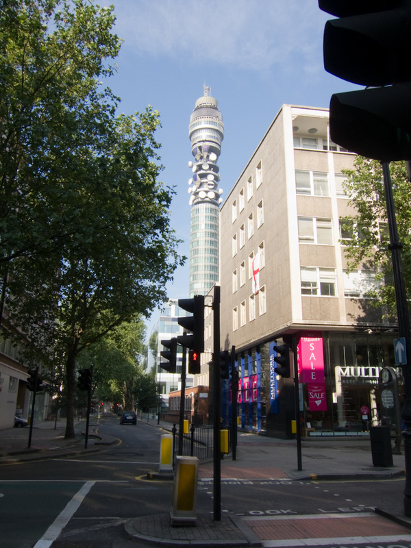 England-London-Trafalgar Square - Heres a blurry picture of the BT tower, note the very blue sky, this is a rare thing in London.