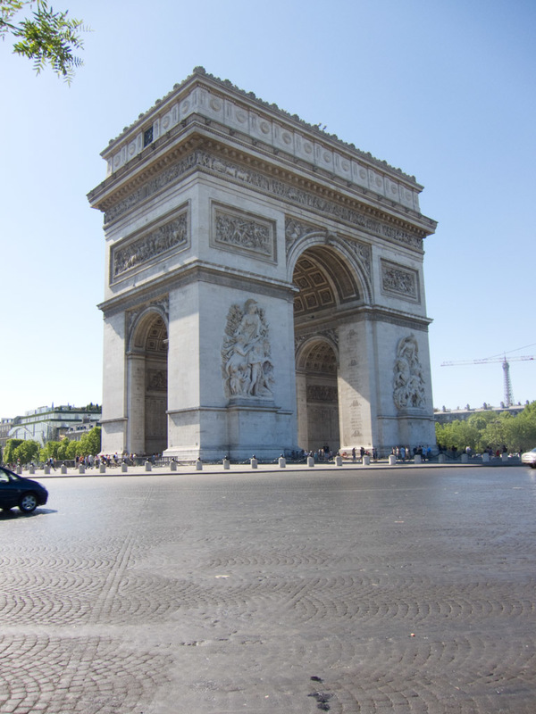 France-Paris-Arc de Triomphe-Eiffel Tower - Another view of the big arch. North Korea built one the same, slightly bigger, because North Korea is the greatest country in the world.