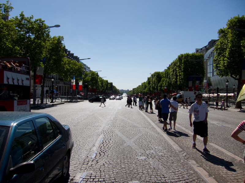 France-Paris-Arc de Triomphe-Eiffel Tower - Heres the champs de elyseeeeseses (correct spelling, I checked), very sunny as you can see.