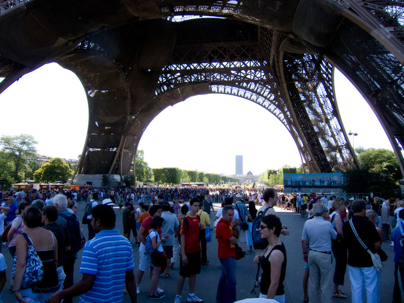 France-Paris-Arc de Triomphe-Eiffel Tower - The entire sea of people you see are waiting to go up the tower, guess what I will not be doing?